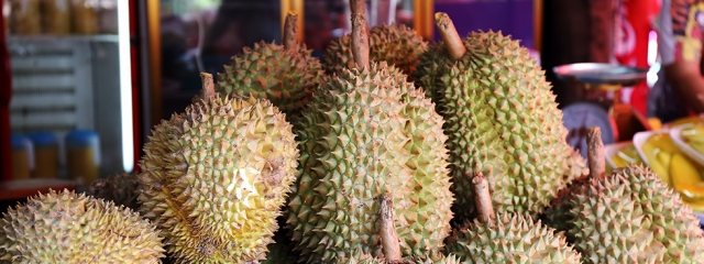 Durian is a popular street food of Singapore
