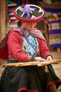 A local craftwoman at work in the Sacred Valley