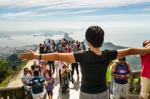 The view of Rio's Guanabara Bay when standing next to the Christ the Redeemer statue