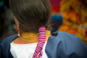 A hair wrap on a local woman in Quito, Ecuador
