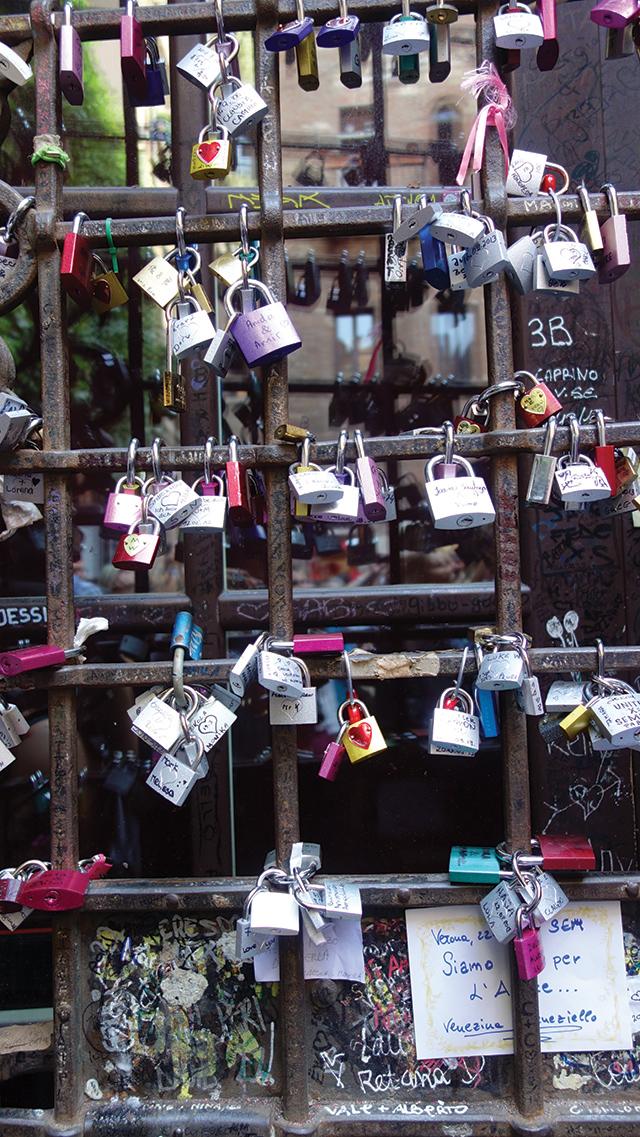 Love locks, Verona, Italy