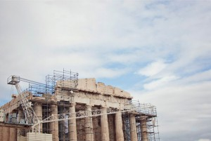 The Parthenon under restoration in Athens, Greece