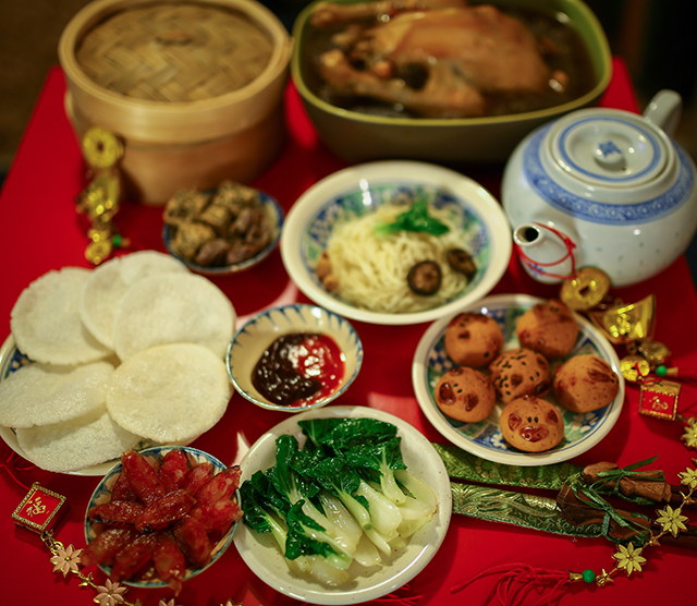 Traditional Chinese New Year foods.