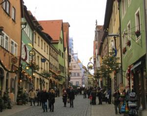 Christmas street scene in Rothenburg ob der Tauber, Germany