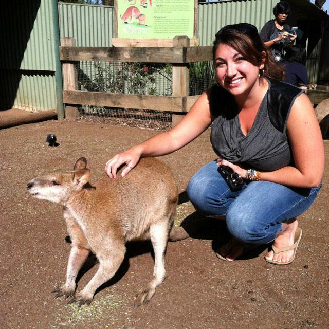 Petting-a-wallaby-in-Austalia
