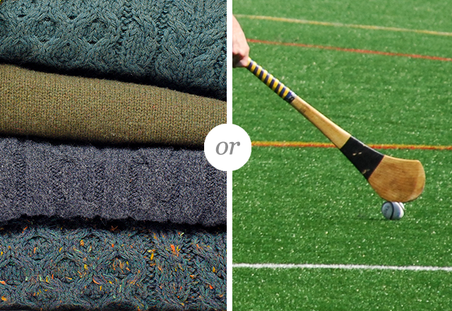 Gift a classic Aran sweater or an Irish hurling stick