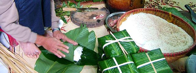 Banh Chung at Tet, the Vietnamese New Year.
