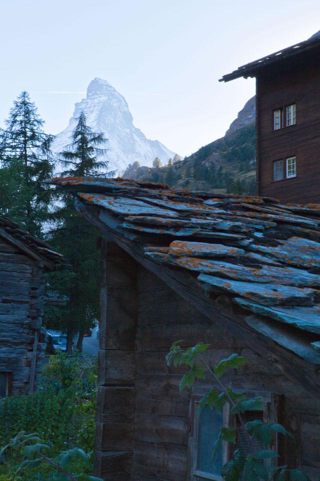 A slate roof near the Matterhorn, Switzerland