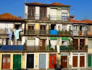 A colorful street in Évora, Portugal