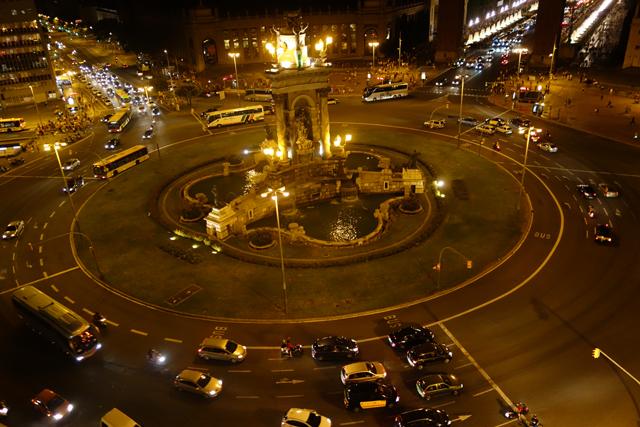 Plaza Espana at night, Barcelona, Spain
