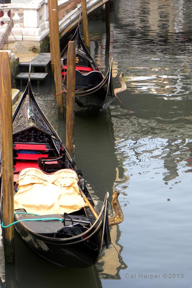 Gondolas in the canal, Venice, Italy