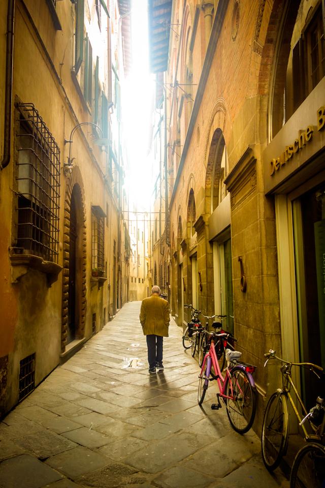 Man walking in Florence, Italy