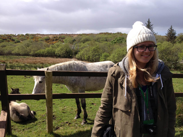 Jessie R. with the ponies at Connemara National Park in Galway, Ireland