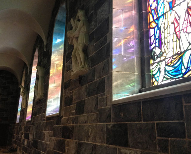 Stained glass in a Galway Gothic Cathedral