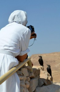 Nun taking photos at Masada