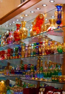 Murano glass on display.