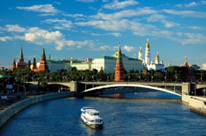 The Moskva River in Moscow, part of the Volga-Baltic Waterway