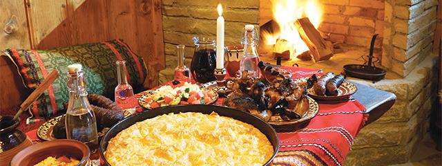 Traditional Bulgarian dinner