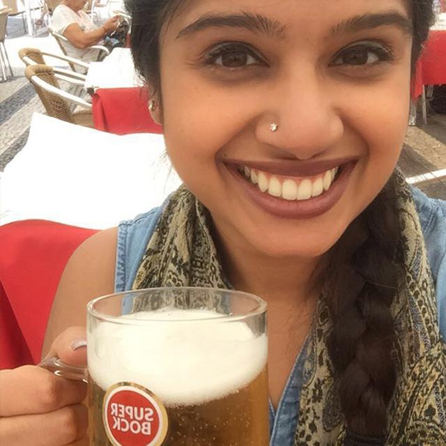 Achala trying regional beer