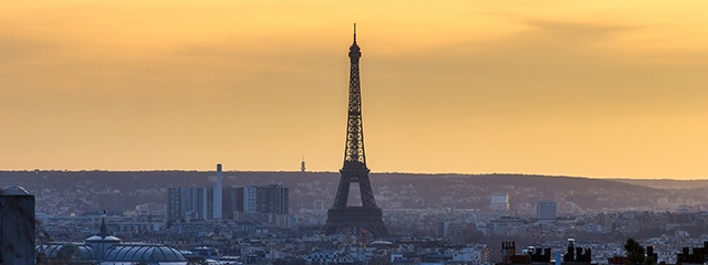 view of the eiffel tower at sunset