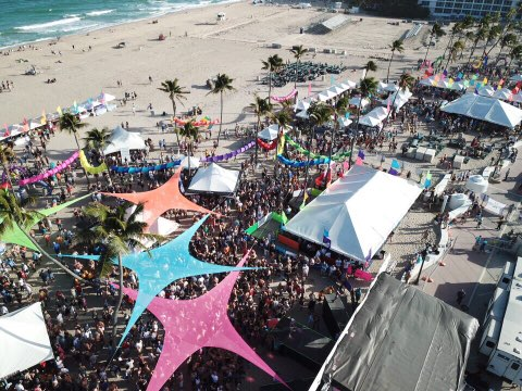 An aerial view of Fort Lauderdale pride by the beach in 2018