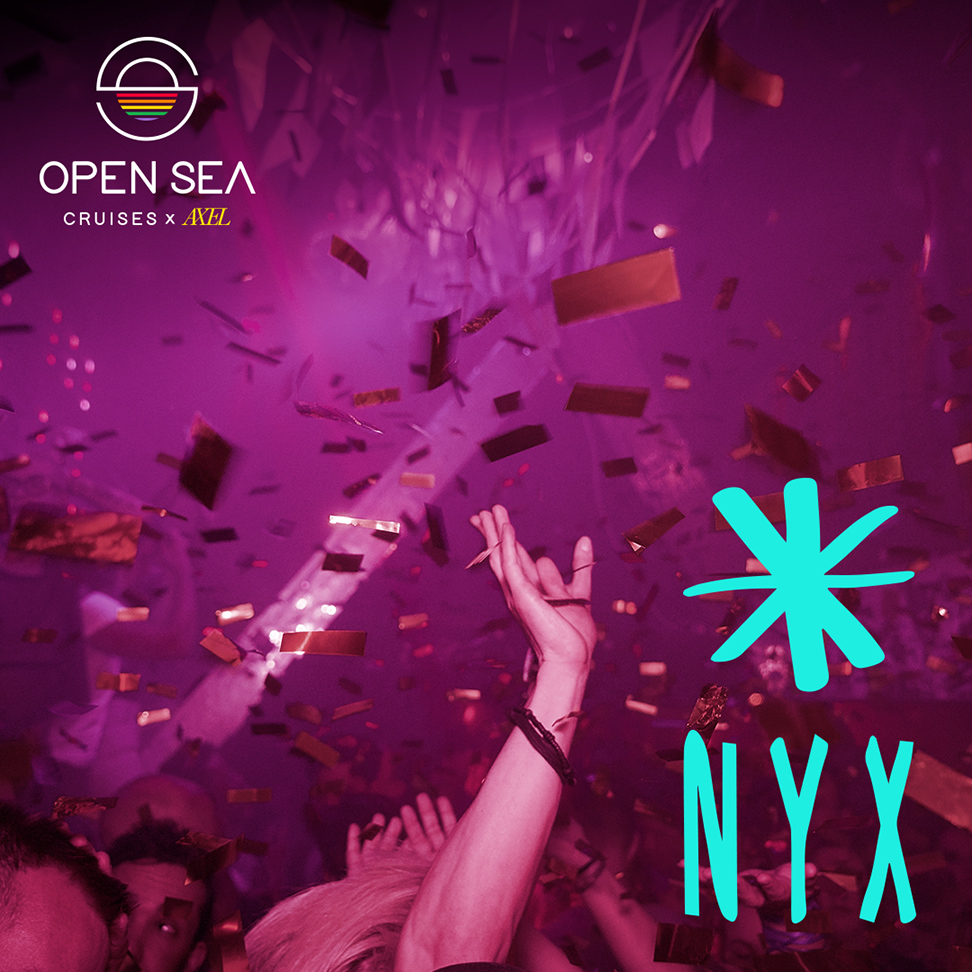 A promotional poster for the NYX party, which will be featured on Open Sea Cruises' new cruise in September. The poster showcases a man dancing with his hand in the air, has a light pink overlay with blue text.