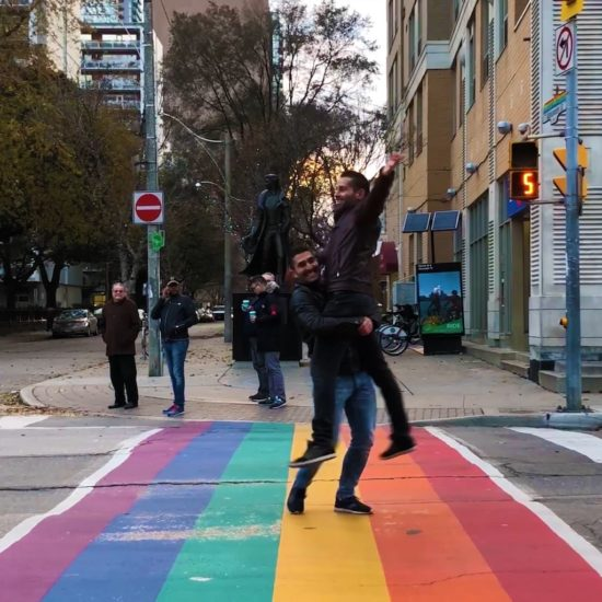 Gay village of Toronto rainbow crossing