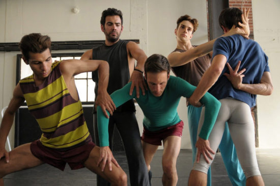 Five male dancers rehearse for Myles Thatcher's queer ballet in San Francisco.
