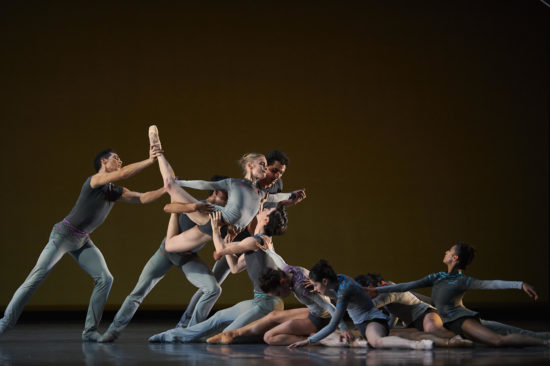 A moment in Myles Thatchers' ballet called Ghost in the Machine, where there are about 20 dancers on stage.