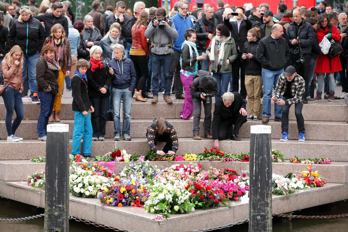 A Remembrance Day event on Amsterdam's Homomonument