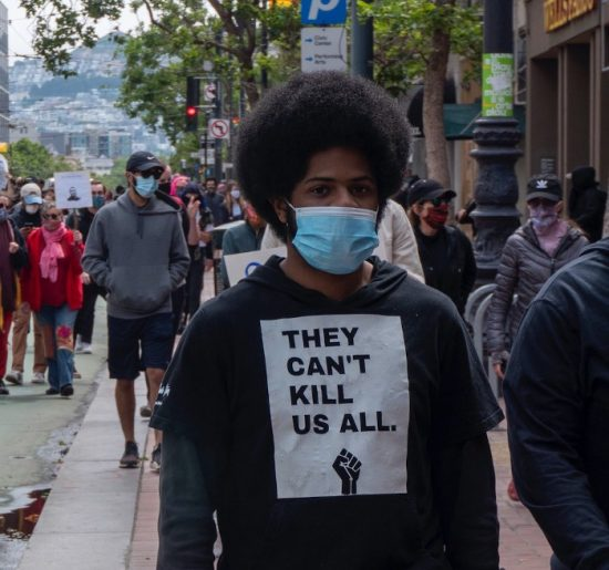 Protester in San Francisco, May 31, 2020. Photo by David Schnur / 48 Hills