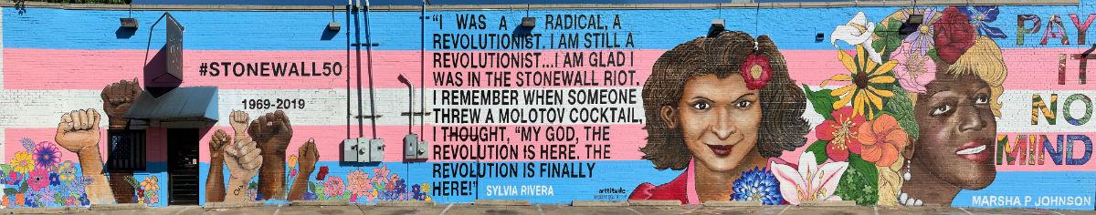 The whole mural of Sylvia Rivera and Marsha P. Johnson in Dallas