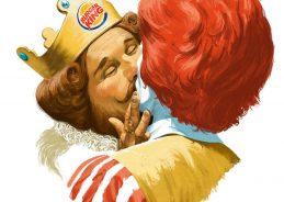 Burger King mascot kisses Ronald McDonald to mark Pride in Finland