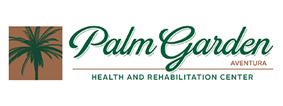 Palm Garden of Aventura logo with palm tree beside it