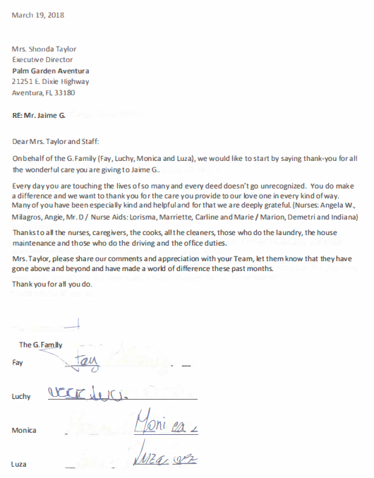 Touching testimonial thanking the staff for the care their loved one received at Aventura