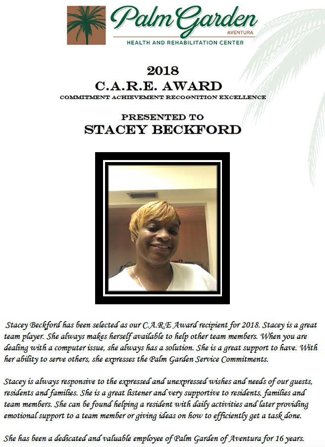 CARE Award 2018 Stacey