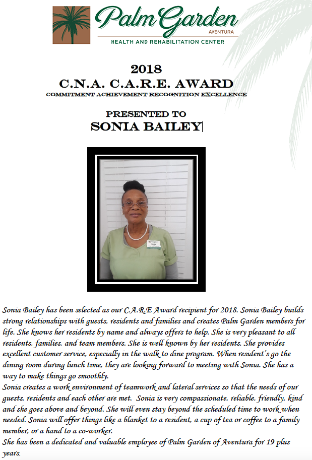 CARE Award 2018 recipient Sonia
