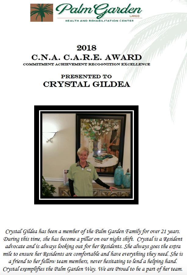 CNA CARE Award 2018 recipient Crystal