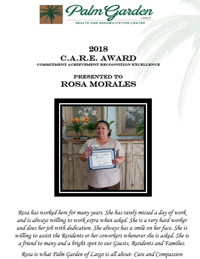 CARE Award recipient 2018 Rosa