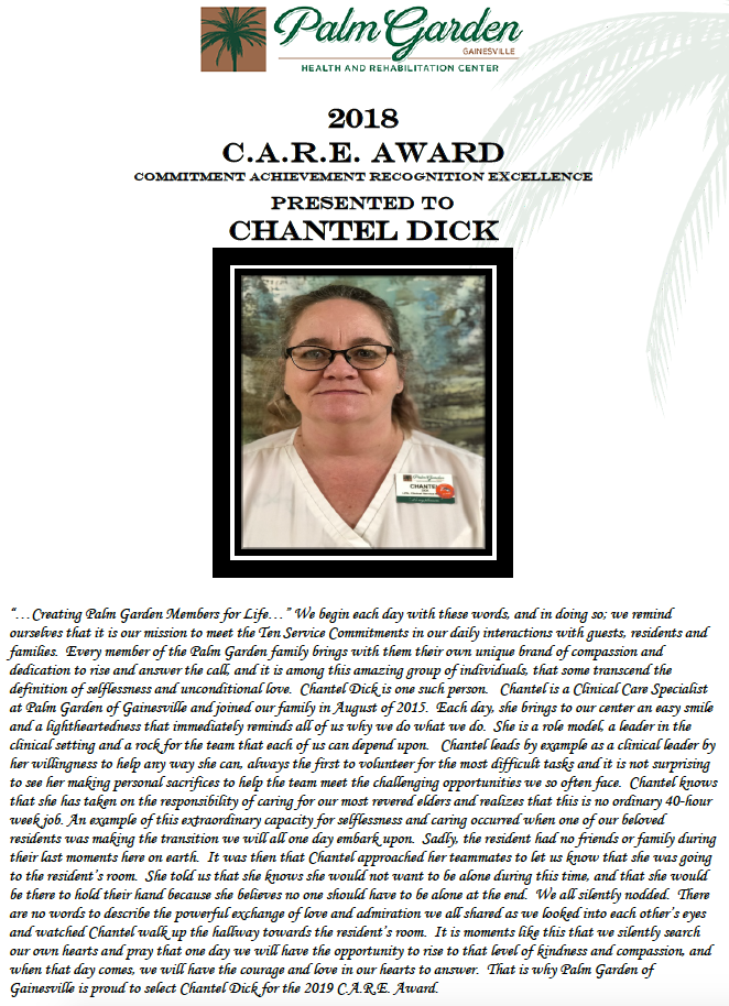 CARE Award 2018 recipient Chantel