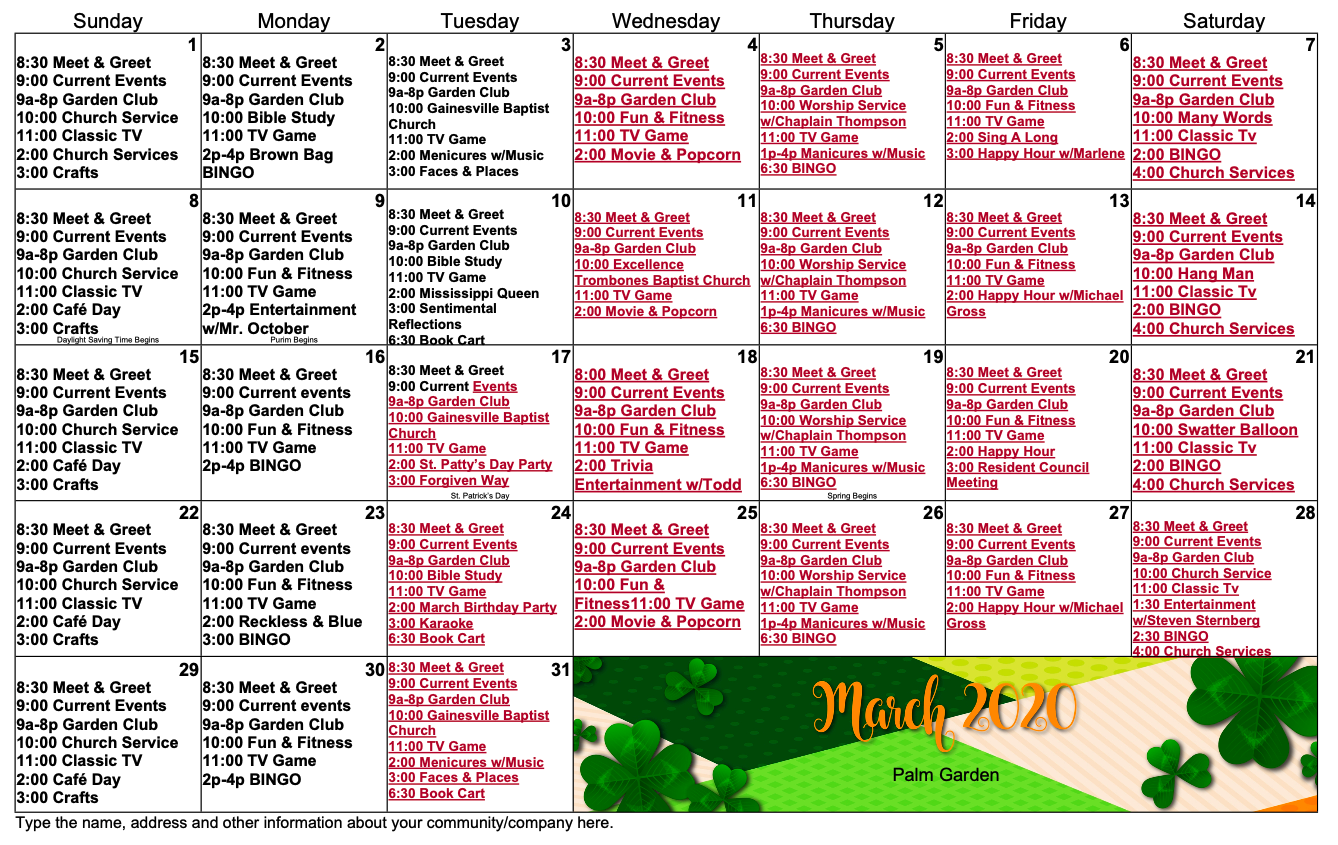 March 2020 Gainesville activity calendar