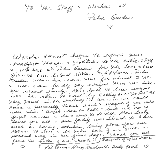 Testimonial of heartfelt thanks for the care given their beloved mother while at Palm Garden of Jacksonville