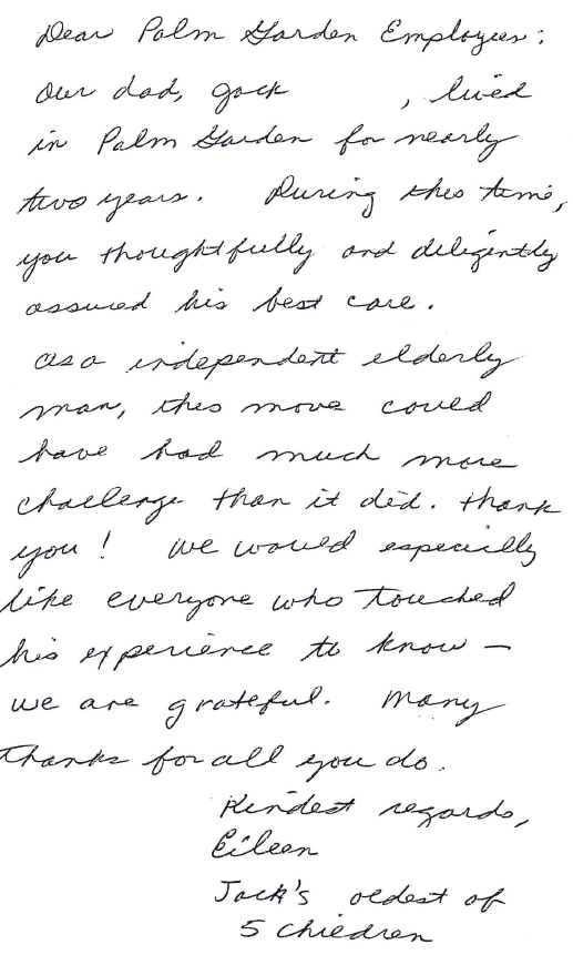 Handwritten letter of thanks from Jack's family
