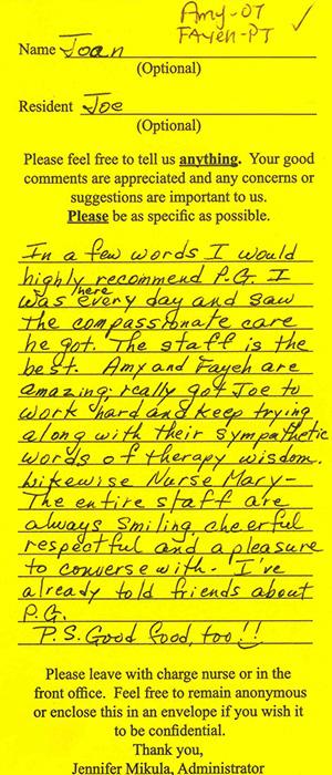 testimonial from Joan C.