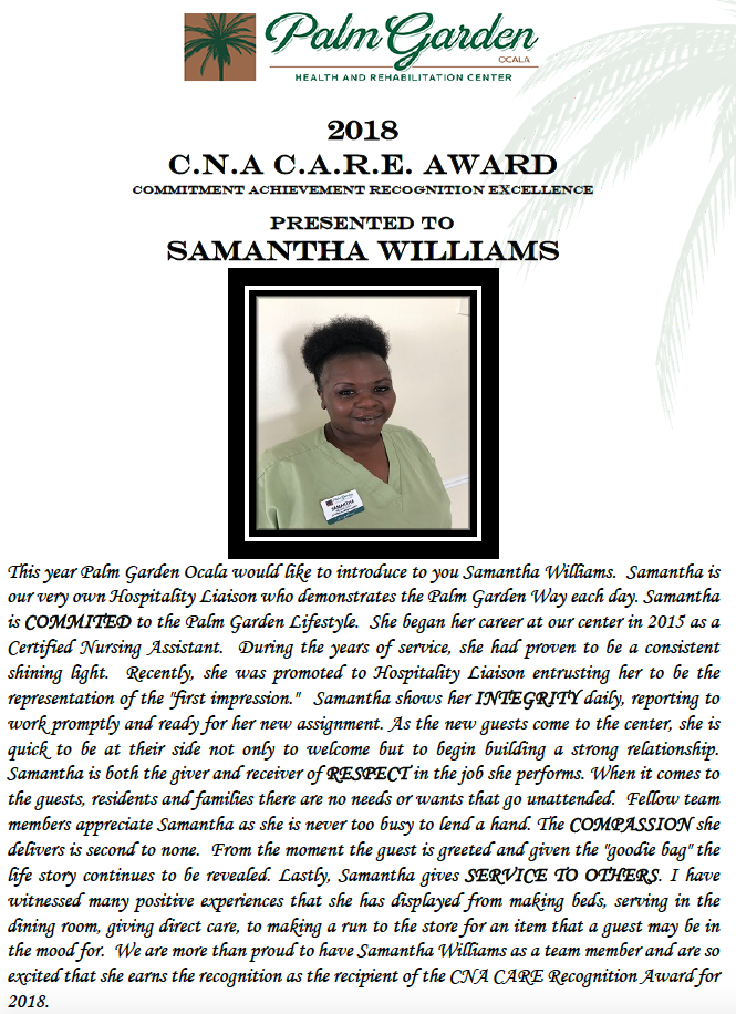 CNA CARE Award 2018 recipient Samantha