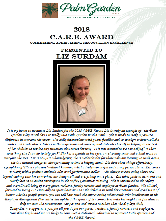 CARE Award 2018 recipient Liz