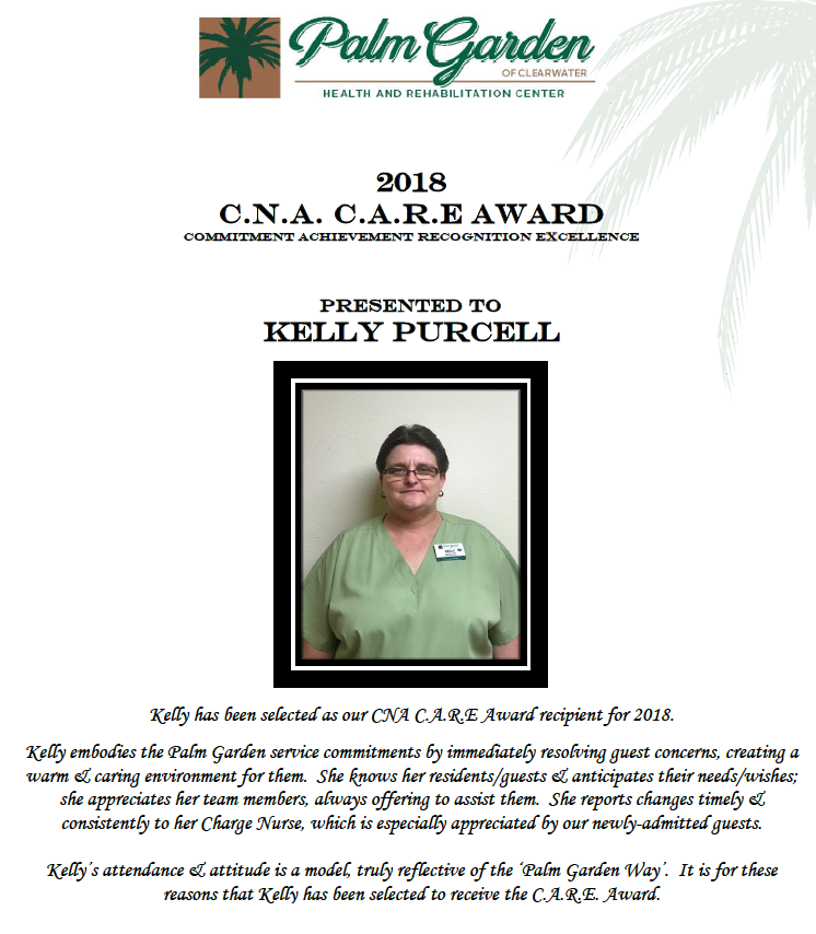 CNA CARE Award 2018 recipient Kelly