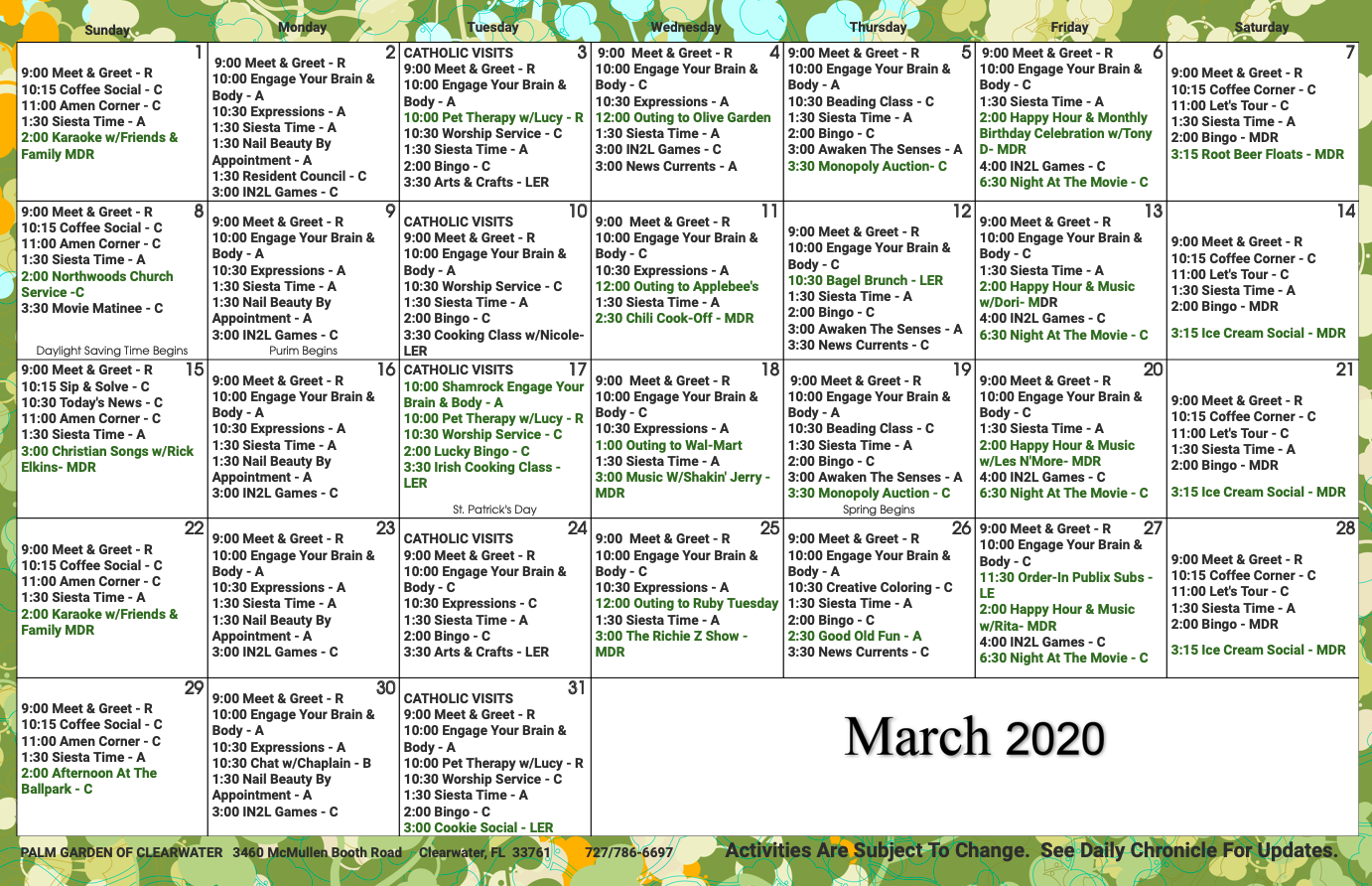 Clearwater March 2020 activity calendar