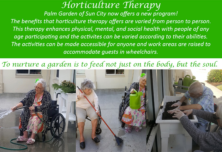 Horticulutre resident therapy with residents working in the garden