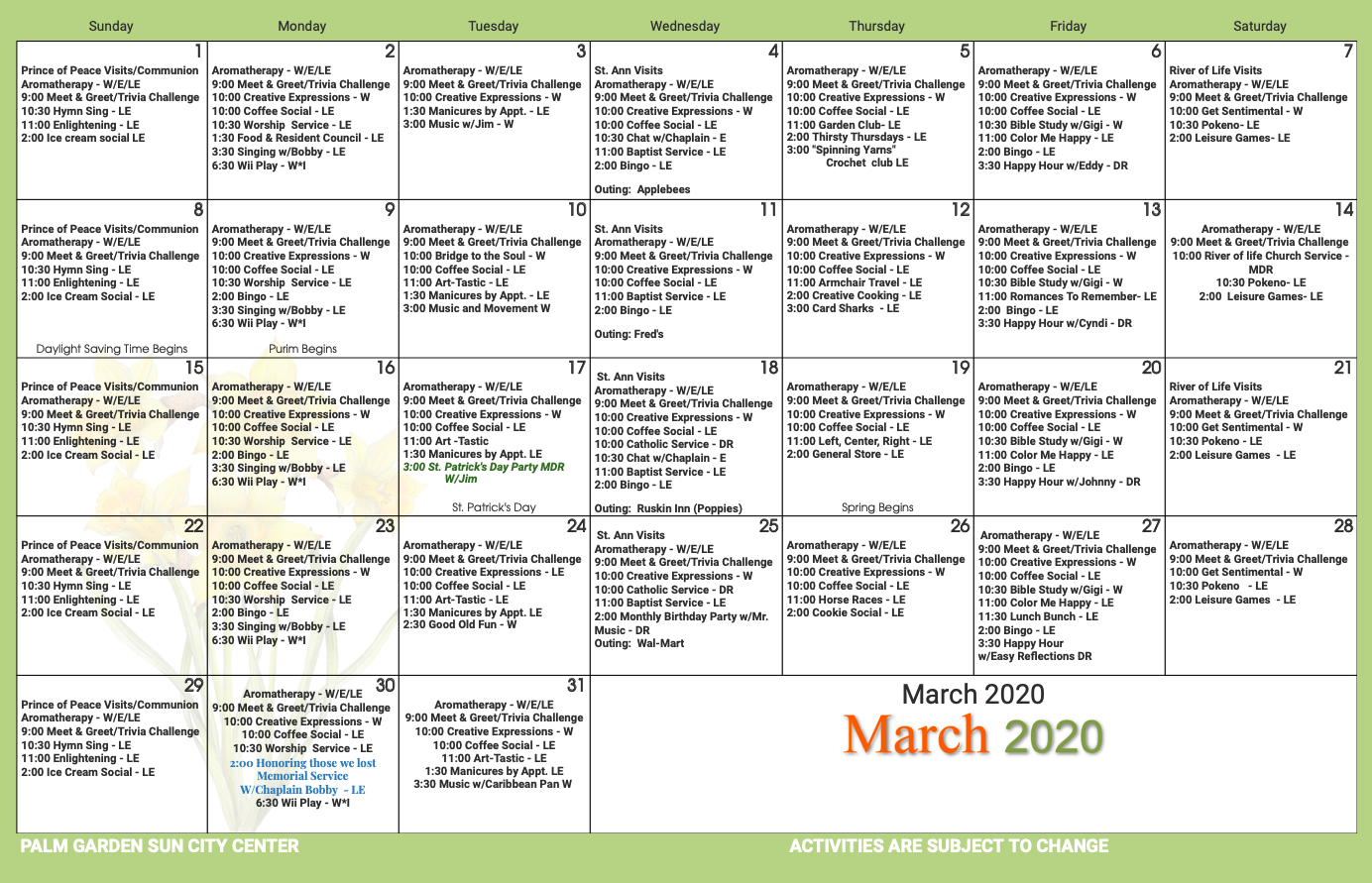 Palm Garden of Sun City March 2020 activity calendar